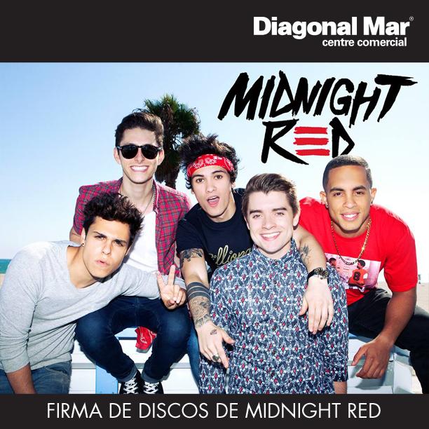 Firma de discos de Midnight Red en Diagonal Mar Centro Comercial - Barcelona
